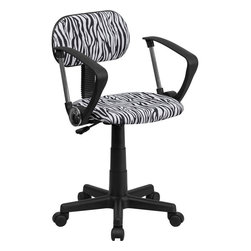 Flash Furniture - Black and White Zebra Print Computer Chair with Arms - This attractive design printed office chair will liven up your classroom/ dorm room/ home office or child's bedroom. If you're ready to step out of the ordinary then this computer chair is for you!