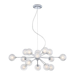 "Possini Euro Design - Possini Euro Design Glass Orbs 15-Light Pendant Chandelier - Have a little fun with your decor. This celestial pendant chandelier features 15 opal glass orbs within larger clear glass orbs on metal rods. Reminiscent of a solar system these glass balls seem to be orbiting around one central chrome finish anchor. A beautiful addition to a modern or eclectic home this piece will liven up any dining room. From the Possini Euro Design collection. Chrome finish. 4"" diameter clear borosilicate and opal glass. Includes fifteen 25 watt G9 halogen bulbs. Fixture measures 30"" wide by 13"" high. Includes nine feet of adjustable support cable. Canopy is 5 1/4"" wide.  Chrome finish.   4"" diameter clear borosilicate and opal glass.   From the Possini Euro Design collection.  Includes fifteen 25 watt G9 halogen bulbs.   30"" wide.   13"" high.  Canopy is 5 1/4"" wide.   Includes nine feet of adjustable support cable."