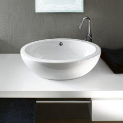 GSI - Oval-Shaped White Ceramic Vessel Bathroom Sink - Contemporary oval shaped white ceramic vessel bathroom sink. Washbasin comes with overflow and no hole. Made in Italy by GSI. Vessel sink. Made out of white ceramic. Includes overflow. No Hole. Standard drain size of 1.25 inches.