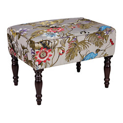 ANGELOHOME - angelo:HOME Brighton Hill Antique Floral Bird Small Bench - The angelo:HOME Brighton Hill bench was designed by Angelo Surmelis. The upholstered Brighton Hill bench is covered in a beautiful antique floral bird fabric.
