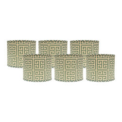 "Lamps Plus - Contemporary Set of 6 Aqua Greek Key Lamp Shades 5x5x4.5 (Clip-On) - These itty-bitty drum lamp shades come in a set of six and feature an aqua Greek key pattern. The clip-on fitter allows you to effortlessly incorporate these shades into your home and the chrome hardware provides just a hint of shine. A perfect accent to uplift a set of small table lamps. Crafted in the Indiana workshops of A'Homestead Shoppe. Set of 6. Drum hardback shade. Aqua Greek key pattern. Made in USA. Cotton exterior. Clip-on fitter. Unlined. Recommended for use with 25 watt candelabra bulbs 5"" across the top. 5"" across the bottom. 4 1/2"" high.  Set of 6.  Drum hardback shade.  Aqua Greek key pattern.  Made in USA.  Cotton exterior.  Clip-on fitter.  Unlined.  Recommended for use with 25 watt candelabra bulbs  5"" across the top.  5"" across the bottom.  4 1/2"" high."