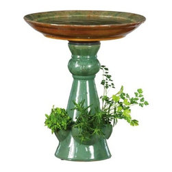 Evergreen Enterprises - Turqoise Speckles Birdbath - Reactive Glaze Birdbath with Pedestal Planter, Ceramic.