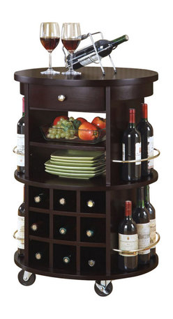 Monarch Specialties - Monarch Specialties Round Bar Serving Cart with Wine Storage - This transitional style solid wood and veneer bar serving cart has a deep cappuccino finish, with an abundance of storage space for your wine. It has a nine bottle wine rack, in addition to space on each side, while two shelves and one drawer can be used for plates, bottle openers and other wine accessories. With its four heavy duty casters for easy mobility, this piece can fit into any home with its modest detailing and simple silver metal knob and accents. Save space in your home with this curved unit and utilize that wasted space you never know how to fill. What's included: Kitchen Cart (1).
