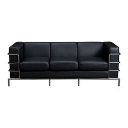 Diamond Sofa - Diamond Sofa Citadel Sofa in Black - The Citadel Collection by Diamond Sofa is a Le-Corbusier-inspired design with an exposed tubular steel wrap-around frame .  Covered with plush, deep cushioning, this contemporary collection offers a modern approach to a classic frame.  The Black Bonded Leather Sofa features a kiln-dried hardwood frame that is glued and reinforced, offers strength, while the zig zag spring suspension base gives you a supple seating that will hold up for years.  The elastic webbing back suspension offers additional stability while allowing for the leather to breathe and maintain its shape.  Seat cushions are comprised of a high density foam cushion wrapped in polyester fibers to ensure a comfortable, relaxing and lasting seat.  Seat cushions and back pillows are attached to the frame to eliminate shifts or gaps. The crisp and angular lines promote an aura of strikingly modern comfort.  Deep Black, Bonded leather finishes the piece, to provide and ensure years of comfort and enjoyment.  Citadel Sofa measures 79 inches wide by 33 inches deep by 28 inches high.