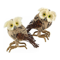 "Home Decorators Collection - Burlap Owl Figurines - Set of 2 - The bright eyes and pinecone wings of our Burlap Owl Figurines will bring winter whimsy to your holiday table. The varying textures–burlap body, ribbed feet, scraggly ""feathers"" and soft head–are rendered in a warm, neutral palette. Burlap, birch twigs, pinecone, styrofoam and sisal. Set of two."