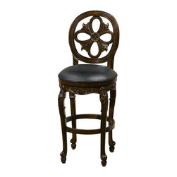Hillsdale Furniture - Hillsdale Rosalee Swivel Counter Stool in Distressed Cherry with Copper - Warm and alluring best describe the delicate charm of the Rosalee swivel stool. Boasting a distressed cherry finish with copper highlights this stool takes design and elegance to the next level. Intricately carved floral details are enhanced by the comfort of the black leather seat. Available in both counter of barstool height. Some assembly required.