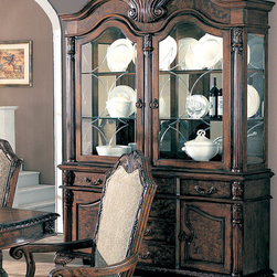 Coaster - Saint Charles Collection Hutch & Buffet (China) in Brown - Create a dining room that will impress your dinner guests for years to come with the Saint Charles collection. In the grand European tradition of elegance, this collection is crafted from ash burl veneers and selected hardwoods. Each piece demonstrates delicate craftsmanship and intricate carved detail. Featuring a double pedestal dining table, arm chairs, side chairs, and a buffet and hutch, this group has the designs to enhance the styling of your dining room.