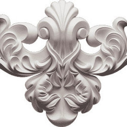 """Inviting Home - Victorian Flourish Center Wall Decoration - Large - Large Victorian Flourish Center 10-7/8""""H x 12-1/2""""W depth - 1-3/4"""" This architectural wall decoration designed with acanthus leaf scrolls. Victorian Flourish Center wall decoration are perfect for interior and exterior application. This architectural wall decoration gives you the look of plaster but the durability and light weight of the high quality material it is made from makes the installation quick and easy. Architectural wall decoration is made in deep relief from a furniture grade polyurethane from hand cast molds and comes factory primed ready for paint or faux finish."""