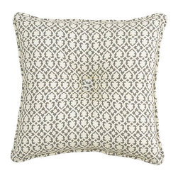 Waverly - Fantasy Fleur Pumice 18 x 18-Inch Tufted Pillow - - Transform any bedroom with the Waverly Fantasy Fleur Bedding Collection. Ensemble features a tree-of-life design with leaves and fruit accents brought to life in warm hues of yellow, stone grey, charcoal grey with cream and ivory contrasts.  - Button tufted 18-Inch square pillow  - All-over trellis design with self-piping  - 100% cotton twill  - Spot clean only Waverly - 13547018X018PUM