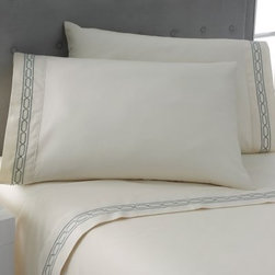 Modern Living Embroidered Chain Link Sheet Set - Slip under the Modern Living Embroidered Chain Link Sheet Set and dream away. These fine-spun sheets are embroidered with a beautiful, contemporary chain link design for a touch of charm. The inviting color themes with embroidered detailing will make you want to stay under these sheets all day! The included pillowcases have the same lovely detail in the color combination and bed size you choose. These smooth 300-thread count cotton sateen sheets are machine-washable and dryer-safe.Sheet Set Dimensions:Twin: 70 x 96 in.Full: 85 x 96 in.Queen: 94 x 102 in.King: 112 x 102 in.Calif. King: 112 x 102 in.Pillowcase Dimensions:Standard (comes with twin, full, queen): 20 x 30 in.King/Calif. king: 20 x 40 in.