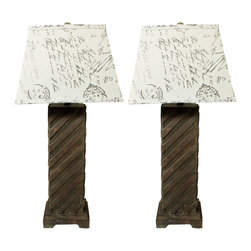 """ecWorld - Luxe Handcrafted Rustic Wood 31"""" Table Lamp - Set of 2 - Made with a contemporary yet rustic touch these lamps add a stylish accent to your living spaces. Visually entertaining base is handcrafted with wood pieces in a diagonal design that radiate a decidedly timeless allure. A square beige linen drum shade with antiqued post card print emits a warm, inviting glow."""