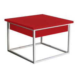 TACO table - Individual or in composition with structure in colour lacquered, wenge or walnut veneer with satin finish. TACO table is supported by an oven painted aluminum base, in white or bronze.
