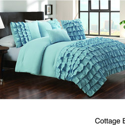 None - Taylor 5-piece Textured Comforter Set - This solid color comforter features a textured ruffled pattern to bring along a wonderful feel to the bedroom. The Taylor set is elegant, charming and a perfect embodiment of what is wanted for bedroom decor.