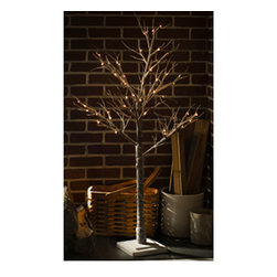 """Snowy"" Tree - Electric - Our twiggy tree features a windblown look with crisp winter lights with a hint of snow. Perfect for creating a holiday landscape on your buffet or mantle. Indoor use only."