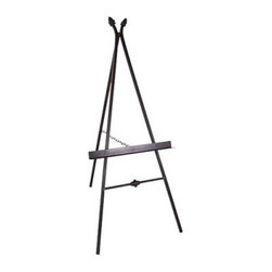 Paris Wrought Iron Picture Display Easel - A perfect way to display that Monet (or was it a Manet?) collecting dust in the attic, the Paris Wrought Iron Picture Display Easel will soon become the center of attention in your salon, solarium, or living room. This sturdy wrought iron easel features decorative art deco-style accents between the front legs and at the apex. Don't have an Old Master painting? You can use it to display priceless family portraits or enlarged snapshots of your pets. Available in your choice of four distinctive finishes.About Grace Manufacturing CompanyGrace Mfg. Co. manufactures metal and wrought iron furniture from their headquarters in Rome, Georgia. For over 25 years, their artisans have created durable metal and wrought iron bar stools, racks, beds, dining chairs, dinettes sets, and tables. Their heirloom-quality wrought iron furniture is hand crafted by skilled metal smiths at their Rome, Georgia plant. Made in the United States of America.