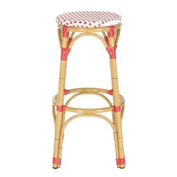 Safavieh - Safavieh Kipnuk Stool in Red and White - Raise a glass to country and coastal decorating with the red and white Kipnuk indoor-outdoor barstool from Safavieh. A colorful addition to a kitchen or patio bar, the pretty Kipnuk is inspired by classic European bistro stools and crafted of white PE wicker and aluminum faux bamboo for easy care. What's included: Barstool (1).