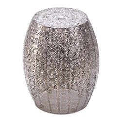 Koolekoo - Moroccan Lace Stool - Looking for a glamorous room accent with serious wow factor? This is it! The marvelous Moroccan Decorative Stool features an intricate and dazzling pattern and is a luxurious side table, display stand, or stool. Place it indoors or outside and admire its shimmer and shine!