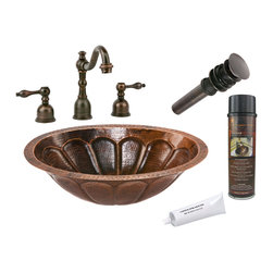 Premier Copper Products - Oval Sunburst Under Counter Sink w/ ORB Faucet - PACKAGE INCLUDES:
