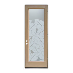 "Glass Front Entry Doors - Frosted Obscure Etched Glass - Banana Leaves Frosted 1 - Glass Front Doors, Entry Doors that Make a Statement! Your front door is your home's initial focal point and glass doors by Sans Soucie with frosted, etched glass designs create a unique, custom effect while providing privacy AND light thru exquisite, quality designs!  Available any size, all glass front doors are custom made to order and ship worldwide at reasonable prices.  Exterior entry door glass will be tempered, dual pane (an equally efficient single 1/2"" thick pane is used in our fiberglass doors).  Selling both the glass inserts for front doors as well as entry doors with glass, Sans Soucie art glass doors are available in 8 woods and Plastpro fiberglass in both smooth surface or a grain texture, as a slab door or prehung in the jamb - any size.   From simple frosted glass effects to our more extravagant 3D sculpture carved, painted and stained glass .. and everything in between, Sans Soucie designs are sandblasted different ways creating not only different effects, but different price levels.   The ""same design, done different"" - with no limit to design, there's something for every decor, any style.  The privacy you need is created without sacrificing sunlight!  Price will vary by design complexity and type of effect:  Specialty Glass and Frosted Glass.  Inside our fun, easy to use online Glass and Entry Door Designer, you'll get instant pricing on everything as YOU customize your door and glass!  When you're all finished designing, you can place your order online!   We're here to answer any questions you have so please call (877) 331-339 to speak to a knowledgeable representative!   Doors ship worldwide at reasonable prices from Palm Desert, California with delivery time ranges between 3-8 weeks depending on door material and glass effect selected.  (Doug Fir or Fiberglass in Frosted Effects allow 3 weeks, Specialty Woods and Glass  [2D, 3D, Leaded] will require approx. 8 weeks)."