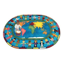 Joy Carpets Let the Children Come Kids Area Rug - Kids will love the bright colors and the fun design of the Let the Children Come Carpet and parents will love the inspiring message. Children from all over the world stand hand-in-hand around the Carpet's border while the verse in the center reminds us all that the love of Jesus is for every child.Sizes available5 feet 4 inches x 7 feet 8 inches (oval)5 feet 4 inches x 7 feet 8 inches (rectangular)7 feet 8 inches x 10 feet 9 inches (oval)7 feet 8 inches x 10 feet 9 inches (rectangular)10 feet 9 inches x 13 feet 2 inches (oval)10 feet 9 inches x 13 feet 2 inches (rectangular)This carpet features SoftFlex backing which is an air-texturized polypropylene secondary backing that's designed to withstand the most demanding situations. SoftFlex is woven tightly yet is still extremely flexible which helps eliminate wrinkles and provide superior protection and insulation underfoot.JoyTuff carpets are Stainmaster-protected and ideal for home or office use. They are constructed from Stainmaster BCF Type 6 6 two-ply nylon and feature advanced protection against stain and soil as well as Impervion mold and mildew protection. This carpet is bound and serged for maximum durability and features a SoftFlex back plus a Class I Flammability rating. To maintain simply vacuum regularly and use hot water extraction cleaning as required.This carpet includes the following warranties:Lifetime limited wear warrantyLifetime limited antimicrobial protectionLifetime limited static protection10-year limited dual technology soil and stain protectionDedicated to Environmental StewardshipJoy Carpets understands the importance of environmental stewardship and its relationship to a successful business. We are committed to operating our facilities in an environmentally sustainable manner and in a manner that protects the health and safety of our associates and the public.Our environmental commitment is driven by a holistic approach to sustainable operations not simply focusing on recycling alone. Joy Carpets reaches beyond recycling in an effort to reduce our company's environmental footprint. Our vision and progress to achieving the goal of full sustainability focuses on the following:Environmentally friendly productsReview of our products' supply chainExtending product life cycleUse of recycled packagingReducing waste to landfillReducing energy consumption and water usageUse of alternative energy sources'No carpet to landfill' commitmentRecycling carpet into new productsDonating carpet for charitable re-useAdditionally Joy Carpets is committed to establishing a strong foundation of environmental values with our families associates and communities to ensure the long-term conservation of our earth's natural resources.About Joy CarpetsJoy Carpets is the leader in specialty broadloom modular carpet Carpets and mats in creative and eye-catching designs. Joy takes pride in providing first-rate floor coverings for residential educational hospitality healthcare and commercial markets. The pioneer of fine gauge tufting Joy Carpets introduced the first recreational carpeting to the industry in 1973 and since that time has been known for their commitment to cutting edge technology and design. Joy Carpets are proudly made in the United States and sold worldwide. Choose Joy Carpets for superior service and unique fun products that enhance your decor and give you fantastic flooring in an instant.