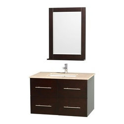 """Wyndham Collection(R) - Centra 36"""" Single Bathroom Vanity for Undermount Sinks by Wyndham Collection - E - The Wyndham Collection is an entirely unique and innovative bath line. Sure to inspire imitators, the original Wyndham Collection sets new standards for design and construction.Simplicity and elegance combine in the perfect lines of the Centra vanity by the Wyndham Collection®. If cutting-edge contemporary design is your style then the Centra vanity is for you - modern, chic and built to last a lifetime. Available with green glass, pure white man-made stone, ivory marble or white carrera marble counters, and featuring soft close door hinges and drawer glides, you'll never hear a noisy door again! The Centra is available with porcelain sinks and matching mirrors. Meticulously finished with brushed chrome hardware, the attention to detail on this beautiful vanity is second to none.Centra Bathroom Vanities are available here in multiple sizes and finishes and are now available with optional CaesarStone® counters!FeaturesConstructed of environmentally friendly, zero emissions solid Oak hardwood, engineered to prevent warping and last a lifetime12-stage wood preparation, sanding, painting and finishing processHighly water-resistant low V.O.C. sealed finishUnique and striking contemporary designModern Wall-Mount DesignMinimal assembly requiredDeep Doweled DrawersFully-extending under-mount soft-close drawer slidesConcealed soft-close door hingesCounter options include Green Glass, Pure White Man-Made Stone, Ivory Marble, White Carrera Marble, and CaesarStone (many colors available)Backsplash not availableAvailable with Porcelain undermount sink(s) Pre-drilled for asingle hole faucetFaucet(s) not includedMetal exterior hardware with brushed chrome finishTwo (2) functional doorsTwo (2) functional drawersMatching mirror(s) availablePlenty of storage spacePlenty of counter spaceVariations in the shading and grain of our natural stone products enhance the individuality of"""