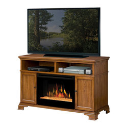 Dimplex - Dimplex Brookings Electric Fireplace Media Console in Dark Oak - Dimplex - TV Stands - GDS25G1055DO - Glass and wood inserts provide a choice of style while the fabric insert allows the option of hiding speakers inside the unit for a clean aesthetic.Finishing touches include the raised base and leg detail and cord management system.