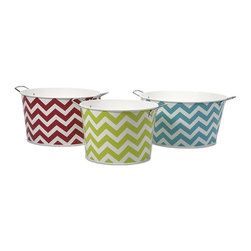 iMax - Chevron Round Tubs, Set of 3 - Bright chevron patterns adorn this set of three iron tubs. Use them for a pop of fun color in a kitchen, den or sun room to hold magazines, knitting supplies, kindling or knick knacks.