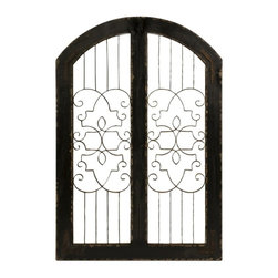 Old World Tuscan Iron and Wood Gate Wall Decor - *The Amelia iron and wood gate adds a Southern or English look to any indoor or outdoor area. Use indoors against a wall to add class to any space!