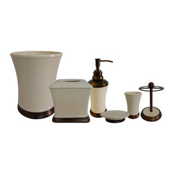 None - Emerson Ivory Bath Accessory 6-piece Set - This Emerson ivory bathroom accessories 6-piece set is consturcted of smooth white ceramic complemented by a metal ring. This set includes a tumbler, soap dish, tooth brush holder, lotion dispenser, tissue box, and waste basket.