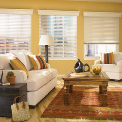 "Bali® Northern Heights 2 1/2"" Shutter Style Wood Blinds - Northern Heights by Bali is the premier hardwood blind in their collection.  Made from fine North American hardwoods, choose from a wide selection of stains and paints.  Northern Heights Shutter Style blinds give you the look and feel of plantation shutters with the functionality and versatility of wood blinds.  Upgraded options like a trapezoidal bottom rail and SureTight headrail eliminate light seepage when the blinds are closed.  Give your order a designers touch with customized cloth tapes or go routeless for added privacy."
