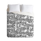 DENY Designs - Sharon Turner Walking Doodle Toile De Jouy King Duvet Cover - Looking for a bed cover with some quirky personality? This imaginative cover offers a whimsical take on the toile tradition, with a retro-futuristic montage of robots and flying machines sketched out like a daydreamer's notepad doodle. In simple black and white, it's understated, but gives your room a fun and unexpected twist.