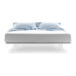 Pianca - Pianca | Filo Platform Bed, Queen - Design by R&S Pianca. Made in Italy by Pianca. In response to a demand for synthesis theming, the Filo Bed XL challenges the common dimensions of any room. Uniquely designed with an extended headboard for a conveniently placed night stand, fitted with nearly invisible legs, and upholstered for absolute comfort, the bed creates an ideal environment for a bedroom in need of contemporary touch. Create your ultimate bedroom and complete your look with the rest of what Pianca has to offer.  Product Features: