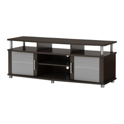 South Shore - South Shore Contemporary TV Stand in Chocolate - South Shore - TV Stands - 4219677 - This TV stand combines curved lines metal accents frosted glass and a Chocolate finish for popular contemporary style. It is a perfect blend of form and function featuring both open and closed storage options and a large surface perfect for ACL TVs of 60'' or less.. The living room has never been so tidy and organized!