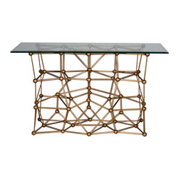 """Worlds Away - Worlds Away Molecule Gold Leaf Iron Console Table - The Worlds Away Molecule console table offers a bold twist on scientific form. The sculptural gold leaf base rises to support a glass surface for eye-catching appeal. 54""""W x 22""""D x 32.5""""H; Gold leaf iron; Clear rectangular glass top"""