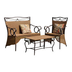 International Caravan - International Caravan Valencia 3 PC Resin Wicker Skirted Settee Group - International Caravan - Patio Dining Sets - 4132S3 - For over 44 years International Caravan has been one of the leaders in quality outdoor and indoor furniture. Using only the finest materials they bring skill craftsmanship and complete dedication to those who enjoy their furniture. You cannot go wrong with any of International Caravan's beautifully constructed pieces of furniture that are sure to be a focal point inside or outside of your home for years to come.