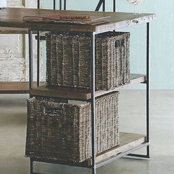 Rustic Willow Desk Baskets (Set of Two) - Employ these desk baskets to make organizing a work space a cinch. Woven from richly colored willow atop a sturdy metal frame, these multi-purpose baskets are made to work overtime. If needed, small basket nests inside larger for convenient storage. Sized to fit into our Recycled Wood Desk.