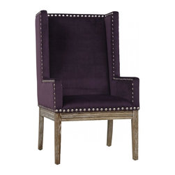 TOV Furniture - Tribeca Purple Velvet Chair - This accent chair is made of kiln dried wood with reclaimed oak legs, polyurethane foam cushioning, and purple velvet upholstery accented with hand applied copper nail head trim.
