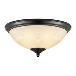 Design House - Trevie 2-Bulb Round Flush Ceiling Mount Light - Requires two 120 V medium base incandescent bulbs. Antique alabaster glass shade. Corrosion resistant. Perfect for kitchen tables, islands and bars. UL listed. Wattage: 60 watt. Made from formed steel. Oil rubbed bronze color. 13 in. Dia. x 6 in. H (4.2 lbs.). Warranty The shabby chic aesthetic matches classic, modern or rustic furnishings. This fixture quickly updates your home with a timeless look. Bold lines mesh perfectly with the soft glow of vintage glass.