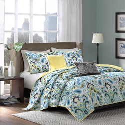 None - Madison Park Chantel 5-piece Coverlet Set - Chantel is a unique quilted coverlet set with a pop of Paisley. The coverlet and shams are quilted in a white color background to match the blue,yellow and black paisley,making it colorful and exciting.