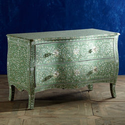 Mother-of-Pearl Serpentine Chest, Mint - You can bring color home in a big way through furnishings. This chest offers all the mint color you need, plus a cream bone inlay design.