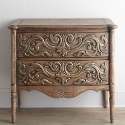 "Horchow - Haylie Chest - Beautiful carved drawer fronts, a scalloped apron, tapered legs, and an antiqued finish with distressing give this chest vintage-style charm. Handcrafted of hardwood solids, laminated lumber, veneers, and resin. Two drawers. 38""W x 20""D x 35""T. Impo..."