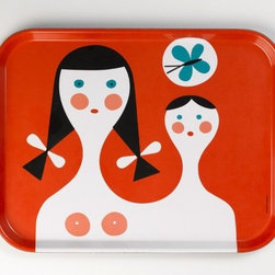 Vitra - Alexander Girard Mother and Child Serving Tray - Features: -Dishwasher safe, food safe.-Construction of high-grade thermoset.-Color: red.-Alexander Griard collection.-Collection: Alexander Girard.-Distressed: No.-Country of Manufacture: Italy.Dimensions: -Overall dimensions: 0.8'' H x 18'' W x 14'' D.