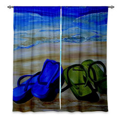 "DiaNoche Designs - Window Curtains Unlined - Patti Schermerhorn Naked Feet on the Beach - Purchasing window curtains just got easier and better! Create a designer look to any of your living spaces with our decorative and unique ""Unlined Window Curtains."" Perfect for the living room, dining room or bedroom, these artistic curtains are an easy and inexpensive way to add color and style when decorating your home.  This is a tight woven poly material that filters outside light and creates a privacy barrier.  Each package includes two easy-to-hang, 3 inch diameter pole-pocket curtain panels.  The width listed is the total measurement of the two panels.  Curtain rod sold separately. Easy care, machine wash cold, tumbles dry low, iron low if needed.  Made in USA and Imported."