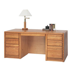 "Martin Home Furnishings - Martin Home Furnishings Contemporary Double Pedestal Executive Offi... - ""An original Martin Home Furnishings collection, Contemporary is a simple and functional collection. Each piece is finished with multiple-step hand rubbed lacquer, and the case pieces have well-defined bull-nose solid red oak moldings and drawer fronts. The genuine plane slice red oak veneers carefully layered over engineered wood core, combined with ball bearing glides ensure that this collection will stand the test of time. Two letter file drawers (one locks)Four utility drawers (two with dividers)Finished back with conference overhang,One pencil drawer,Two wire management covers,Premium drawer construction,Superior drawer construction,Charge & Connect compatible, 5 year manufacturer warrantyMedium Oak finish on hardwood solids and veneersAssembled Dimensions: 68.25w x 29h x 32d"""