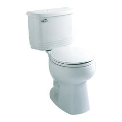 Sterling - Sterling Riverton Round Toilet - 402083-0 - Shop for Toilet from Hayneedle.com! The Sterling Riverton Round Toilet stands out from typical designs with a stylish ridged tank and rounded edges that look great in traditional and contemporary style bathrooms. This beautifully crafted water-saving toilet is made from Grade A vitreous china with a protective gloss finish that comes in your choice of white almond or biscuit. The round design of the bowl conserves space in your bath area without sacrificing comfort. Most importantly this model only uses 1.28 gallons per flush making it an environmentally friendly and cost-efficient addition to any home. Measures 27.25L x 17.5W x 29H inches and installs with the three-bolt quick-connect system. About SterlingEstablished in 1907 and quickly recognized as a leading manufacturer of faucets and brassware Sterling has been known for their diversity of products and industry-leading designs for over a century. In 1984 Sterling was acquired by Kohler Co. to create a mid-priced full-line plumbing brand and allow Kohler the opportunity to sell their products in retail stores. Over the years Kohler quickly began acquiring other companies to help enhance the Sterling line of products that was quickly growing into the likes of stainless steel sinks compressed fiberglass bathtubs and enclosures and vitreous china products. With that said Kohler was able to take a modestly sized faucet company and turn it into a successful full-line brand. Today Sterling is a brand of Kohler co. and their diversity in products craftsmanship and innovation over a broad range of price points makes them a recognized leader in kitchen and bath design.