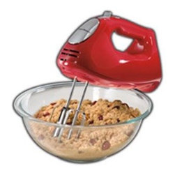 Hamilton Beach - Hand Mixer Red - This Hamilton Beach ensemble Hand Mixer with storage case has 275 Watts of peak power.  It has a bowl rest feature and six speeds with a QuickBurst button.  The slower first speed reduces messy splatters.  Comes with five attachments:  two traditional beaters  two dough hooks and one whisk.  This item cannot be shipped to APO/FPO addresses. Please accept our apologies.