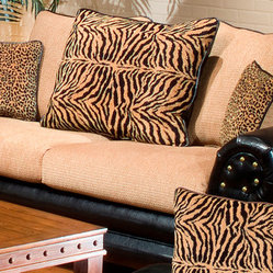 Chelsea Home Zoie Sofa in Denver Black/Delray Camel/Tiger Gold/Leopard Gold