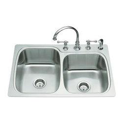 KOHLER - KOHLER K-3372-3-NA Verse Large/Medium Self-Rimming Kitchen Sink - KOHLER K-3372-3-NA Verse Large/Medium Self-Rimming Kitchen Sink with Three-Hole Faucet Punching