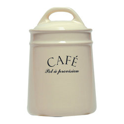 Cafe (Coffee) Canister - The Cafe Canister makes a beautiful addition to the kitchen, where it can of course be used to hold a favorite roast, but it also looks charming as an eclectic holder for a bouquet in the transitional dining room. Whether you use it in the breakfast nook's decor or on the counter, its creamy hue, French script, and solid, sturdy lid make a cozy impression on the tone of the room.