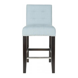 Safavieh - Koso Counterstool - The Koso counter stool offers classic design and sumptuous comfort. Featuring espresso finished birch wood legs and sky blue linen blend fabric, Koso adds a touch of elegance with button tufted seat and back cushions and silver nail head trim.